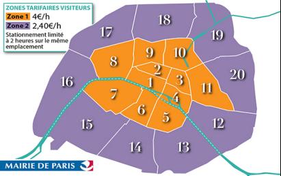 Zones tarifaires visiteurs Paris